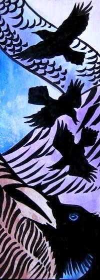 Water-colour design for stained glass ravens