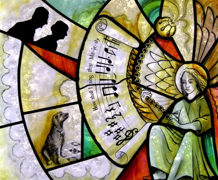 Detail from Kate Charles' stained glass window